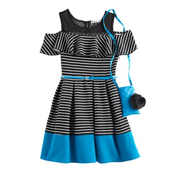 Girls 7-16 Knitworks Striped Cold-Shoulder Skater Dress with Crossbody Purse