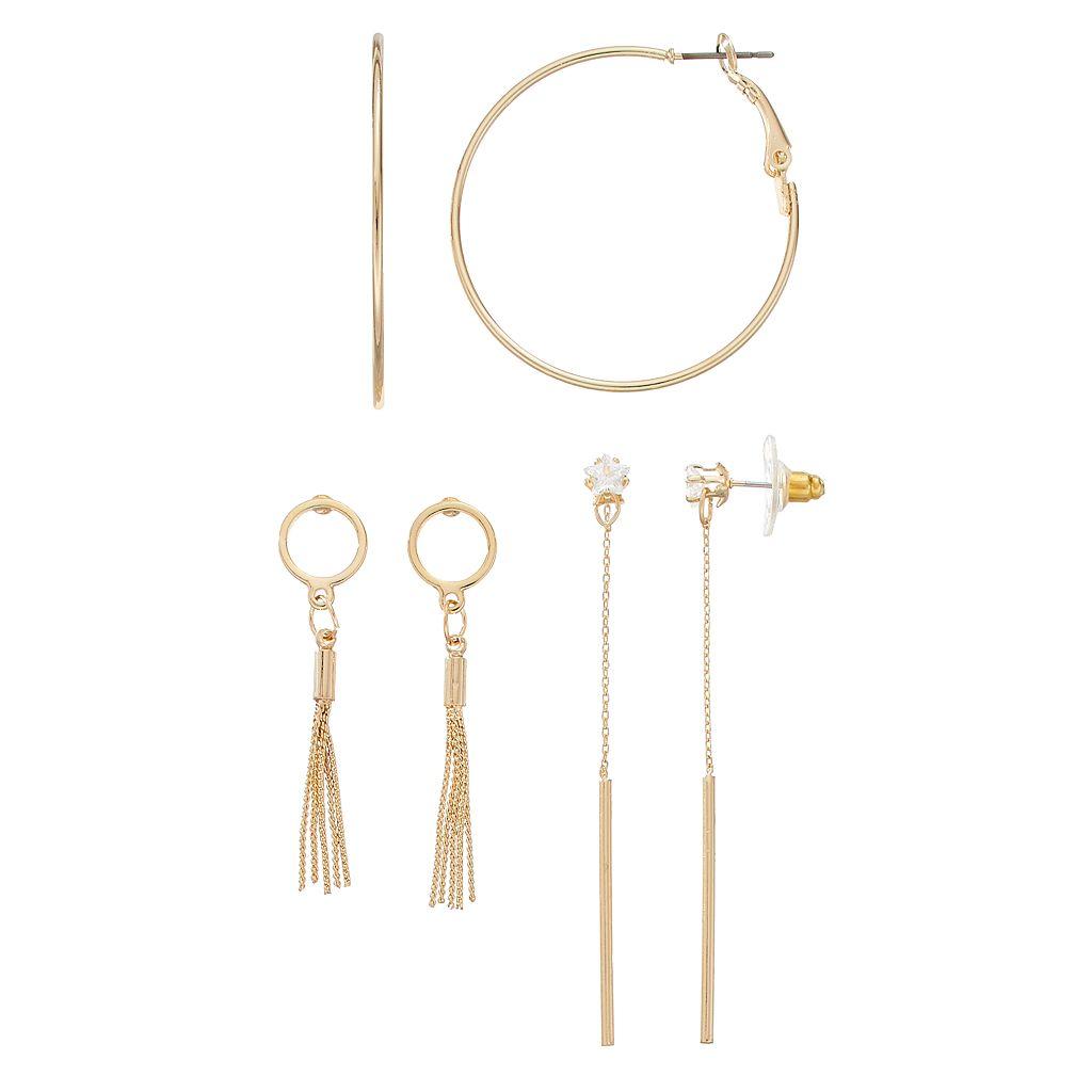 Star Simulated Crystal Stick, Tassel & Hoop Earring Set
