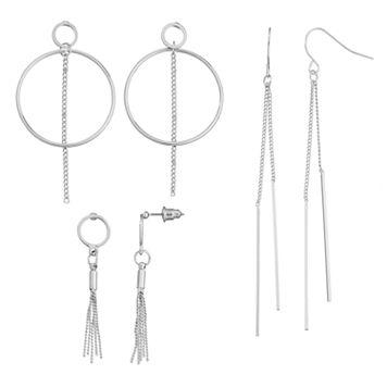 Tassel, Hoop & Stick Drop Earring Set