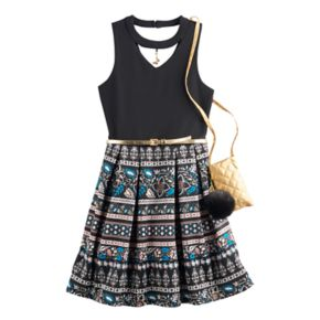 Girls 7-16 Knit Works Printed Keyhole Skater Dress with Crossbody Purse