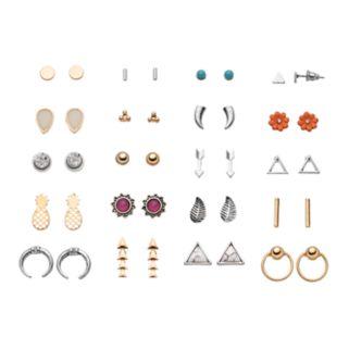 Pineapple, Flower, Leaf & Arrow Stud Earring Set