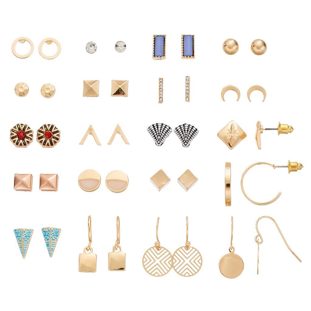 Seashell, Crescent & Geometric Earring Set