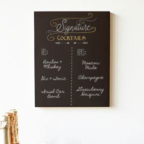 """Cathy's Concepts """"Signature Cocktails"""" Chalkboard Sign Wall Decor"""