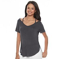 Juniors' Mudd® Strappy V-Neck Tee