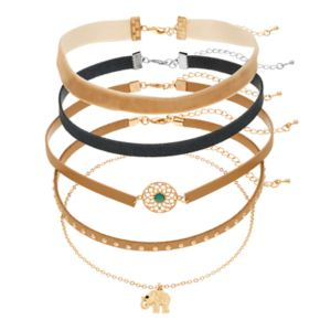 Elephant, Medallion, Studded & Velvet Choker Necklace Set