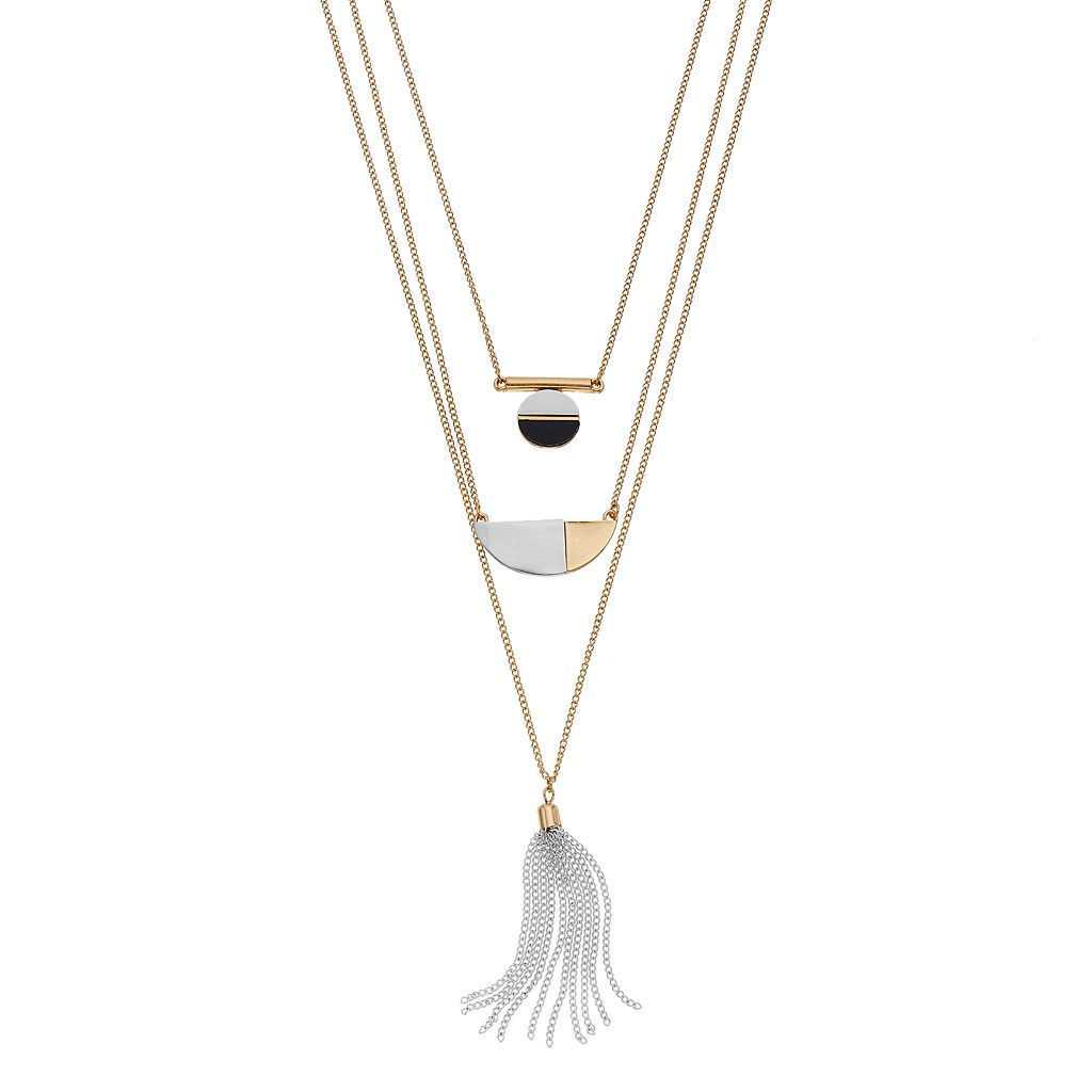 Two Tone Layered Geometric Tassel Necklace