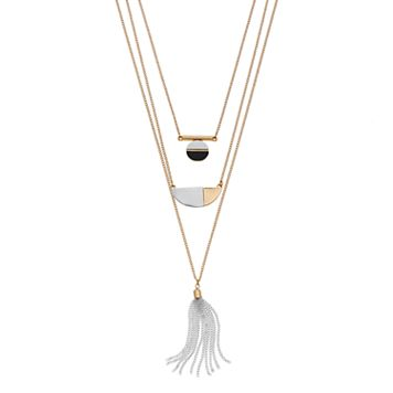 Two Tone Layered Geometric Tassel Necklace