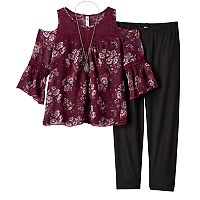 Girls 7-16 & Plus Size Knitworks Cold Shoulder Crochet Chiffon Top & Leggings Set with Necklace