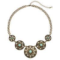 Aqua Cabochon Antiqued Medallion Statement Necklace