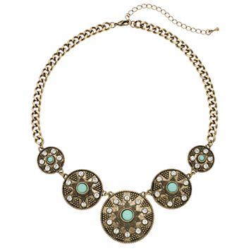 Aqua Cabochon Antiqued Medallion Statement Necklace