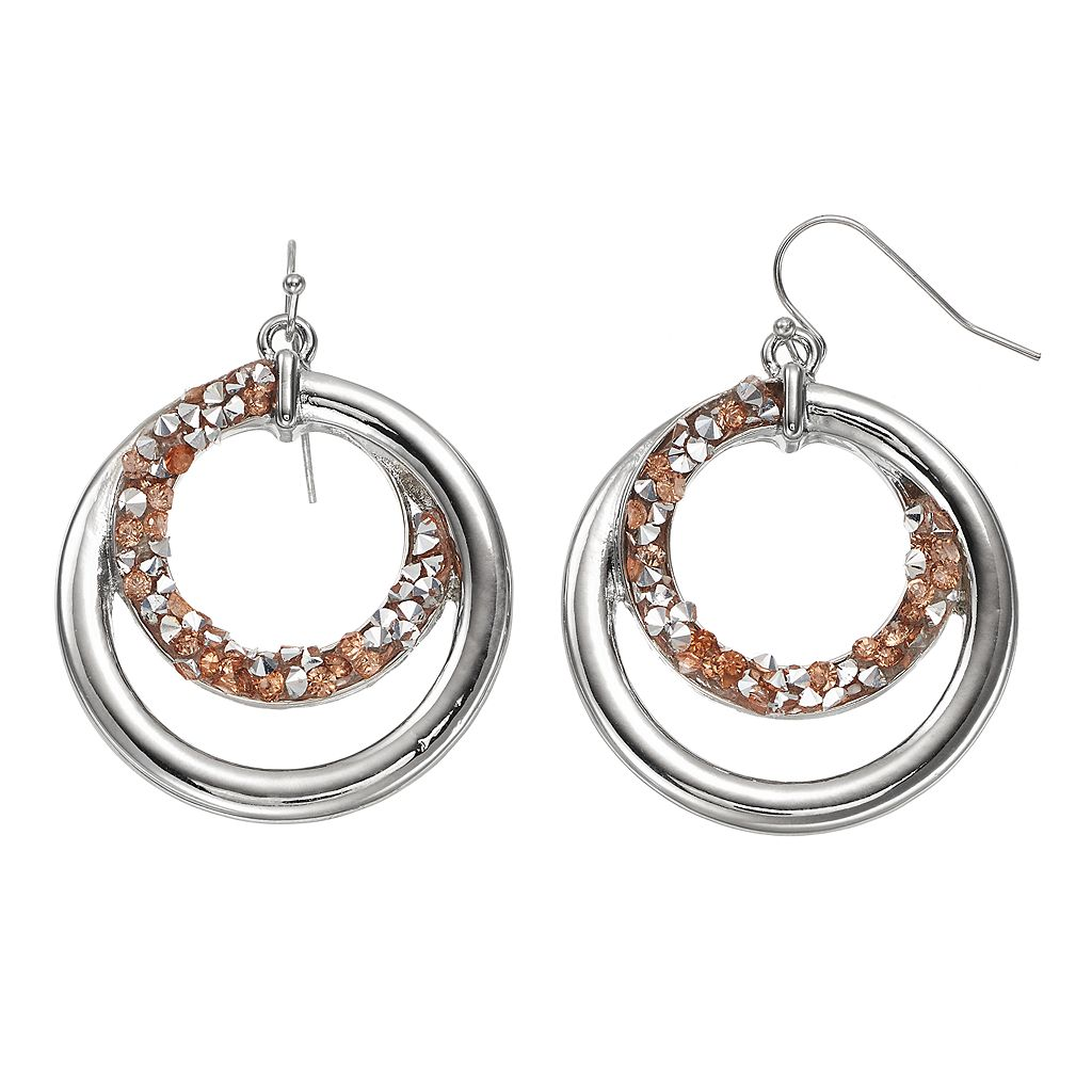 Faceted Stone Spiral Hoop Nickel Free Drop Earrings