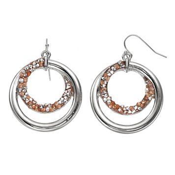 Faceted Stone Spiral Hoop Nickel Free Drop Earrings