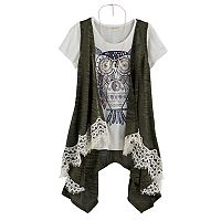 Girls 7-16 Self Esteem Lace Trim Vest & Graphic Tee Set with Necklace
