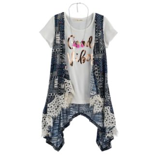 Girls 7-16 Self Esteem Lace Trim Vest & Graphic Tee Set with Necklace