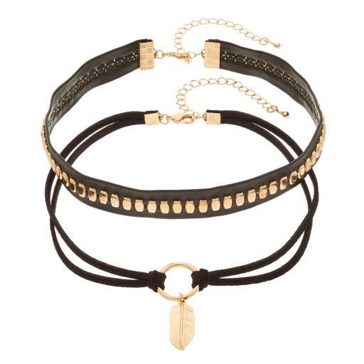 Studded & Leaf Charm Black Faux Leather Choker Necklace Set