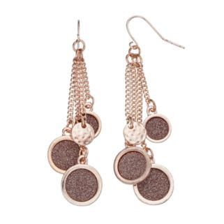 Nickel Free Glittery Disc Cluster Drop Earrings