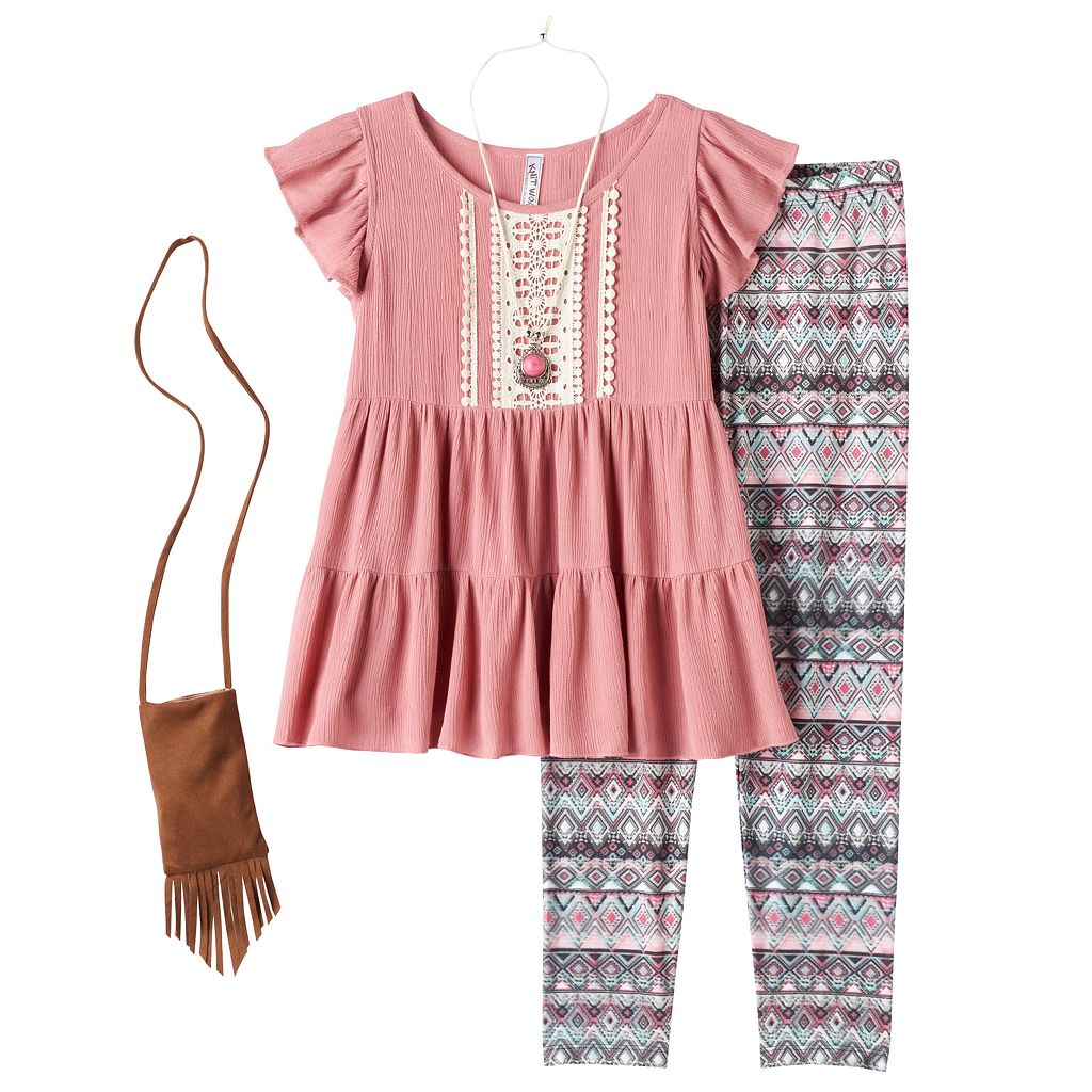 Girls 7-16 & Plus Size Knitworks Ruffle Tunic & Patterned Leggings Set with Necklace & Crossbody Purse