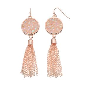 Iridescent Faceted Stone Disc Tassel Nickel Free Drop Earrings
