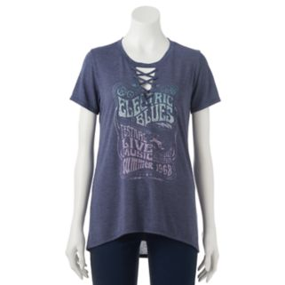 """Juniors' """"Electric Blues Festival"""" Lace Up Graphic Tee"""