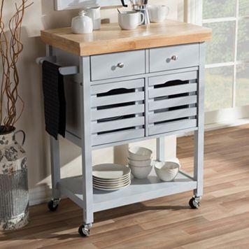 Baxton Studio Jaden Rolling Kitchen Cart