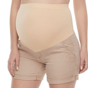 Maternity a:glow Belly Panel Cuffed Twill Shorts