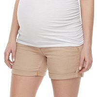 Maternity a:glow Belly Panel Cuffed Twill Shorts