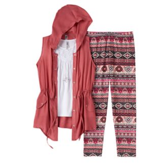 Girls 7-16 & Plus Size Knitworks Anorak Vest, Tank Top & Patterned Leggings Set with Necklace