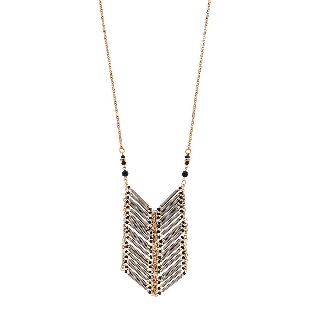 Gray Beaded Chevron Ladder Necklace