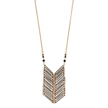Gray Beaded Chevron Ladder Necklace