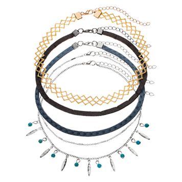 Blue Shaky Bead, Lace & Faux Suede Choker Necklace Set