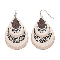 Nickel Free Glittery Textured Filigree Teardrop Earrings