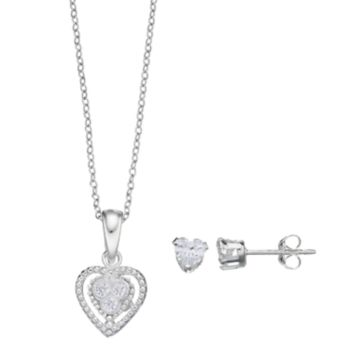 Charming Girl Kids' Cubic Zirconia Heart Pendant & Stud Earring Set