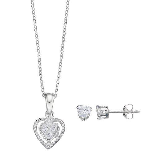 Charming Girl Kids' Cubic Zirconia Heart Pendant & Stud Earring Set