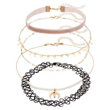 Pink Velvet, Crescent, Shaky Leaf & Tattoo Choker Necklace Set