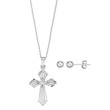 Charming Girl Sterling Silver Kids' Cross Pendant & Ball Stud Earring Set