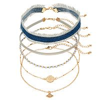 Frayed Denim, Medallion, Evil Eye & Beaded Choker Necklace Set