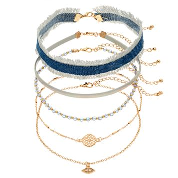 Frayed Denim, Medallion, Evil Eye & Beaded Choker Necklace Set