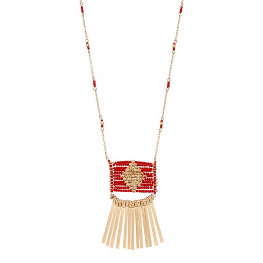 Red Long Seed Bead Stick Fringe Necklace