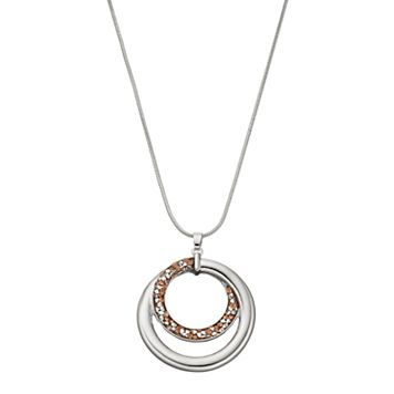 Long Faceted Stone Spiral Hoop Pendant Necklace