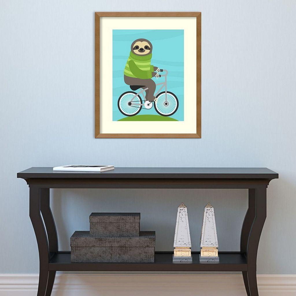 Amanti Art Cycling Sloth Framed Wall Art