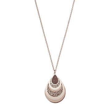 Glittery Filigree Teardrop Pendant Necklace