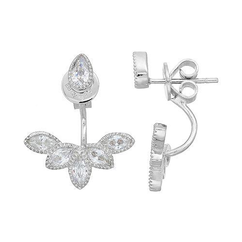 PRIMROSE Sterling Silver Cubic Zirconia Front Back Earrings