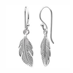 PRIMROSE Sterling Silver Feather Drop Earrings