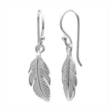 PRIMROSE Sterling Silver Feather Drop Earrings