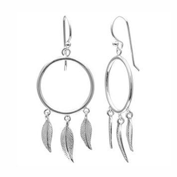 PRIMROSE Sterling Silver Feather & Hoop Drop Earrings