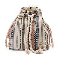 love this life Striped Canvas Rope Drawstring Backpack