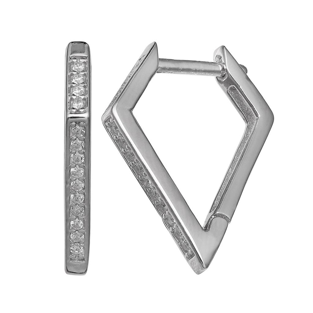 PRIMROSE Sterling Silver Cubic Zirconia Geometric Drop Earrings