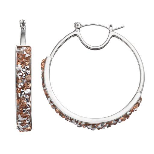 Faceted Stone Nickel Free Hoop Earrings
