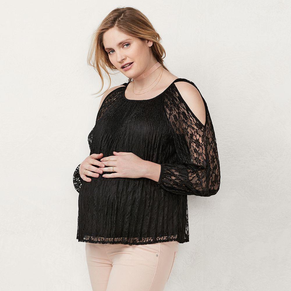 d9d93ede1e350 Maternity LC Lauren Conrad Cold-Shoulder Lace Top