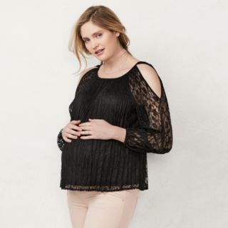 Maternity LC Lauren Conrad Cold-Shoulder Lace Top